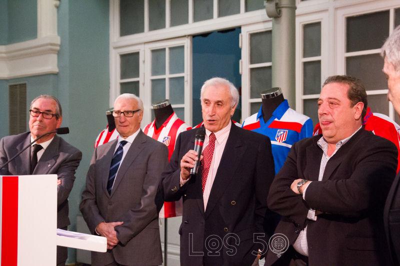 Inauguración de la exposición en el Matadero de Madrid que repasan los 50 años de historia del estadio atlético. Organizado por la Peña Los 50.