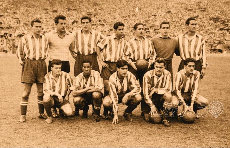 (19/10/1952) Atlético de Madrid vs Zaragoza (4-1) Arriba: Mencía, Montes, Tinte, Hernández, Galbis, Cayetano, Mújica. Abajo: Miguel, Ben Barek, Escudero, Agustín y Callejo
