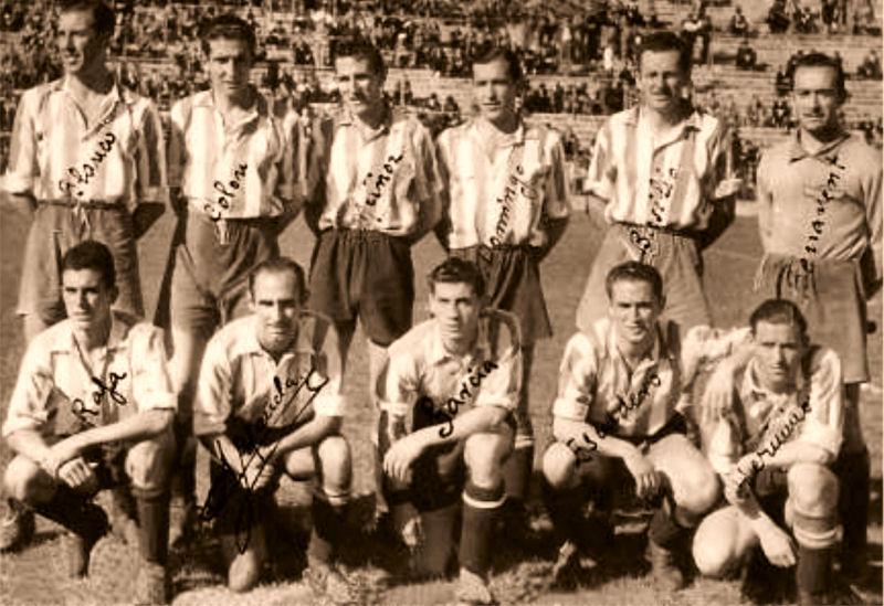 (14/5/1942) Atlético Aviación. Arriba: Blanco, Colón, Muñoz, Domingo, Basilio, Benavent. Abajo: Rafa, Maceda, García, Escudero y Herminio.